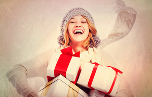 Happy Young Woman with Christmas Gifts in Vintage Style