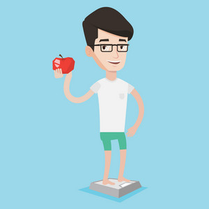 Healthy caucasian man standing on scales with apple. Man satisfied with result of his diet. Joyful man on diet. Dieting and healthy lifestyle concept. Vector flat design illustration. Square layout.