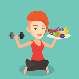 Healthy sportswoman with fruits and dumbbell. Caucasian woman holding fruits and dumbbell. Woman choosing healthy lifestyle. Healthy lifestyle concept. Vector flat design illustration. Square layout.