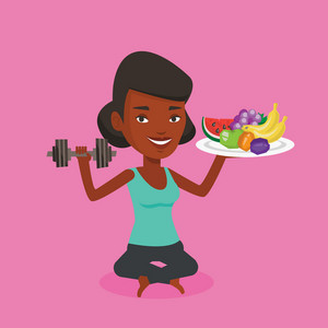 Healthy woman with fruits and dumbbell. An african woman holding fruits and dumbbell. Woman choosing healthy lifestyle. Healthy lifestyle concept. Vector flat design illustration. Square layout.