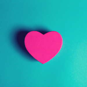 Heart shaped gift box on a blue background