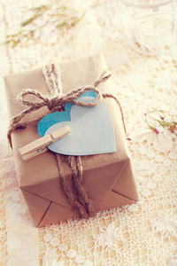 Heart-shaped tags and hand crafted present box