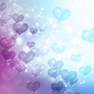 Hearts on blue and purple gradient background