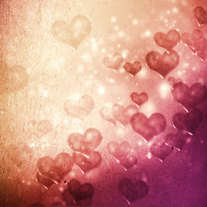 Hearts on grunge pink magenta gradient background