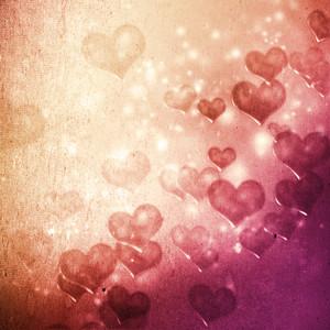 Hearts on grunge pink magenta gradient background