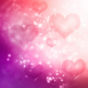 Hearts on pink and purple gradient background