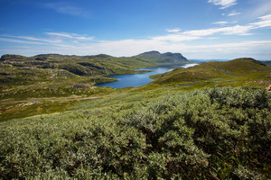 High mountain landscape summertime in Telemark, Norway. Over 1000 meter above the ocean.