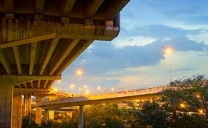 Highway bridge twilight under view