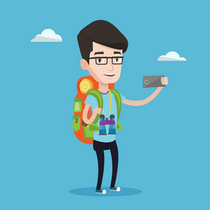 Hiking caucasian man making selfie. Smiling wanderer man with backpack and binoculars taking photo with cellphone. Young happy man during summer trip. Vector flat design illustration. Square layout.