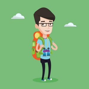 Hiking caucasian man standing with backpack and binoculars. Smiling wanderer man enjoying his recreation time in nature. Happy man during summer trip. Vector flat design illustration. Square layout.