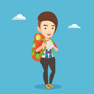 Hiking caucasian traveler standing with backpack and binoculars. Traveler woman enjoying recreation time in nature. Happy traveler during summer trip. Vector flat design illustration. Square layout.