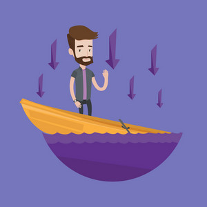 Hipster businessman standing in a sinking boat and asking for help. Man sinking and arrows behind him pointing down symbolizing business bankruptcy. Vector flat design illustration. Square layout.