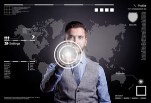 Hipster businessman working on digital virtual screen and business strategy as concept, isolated on black background