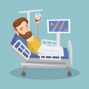 Hipster caucasian man lying in bed in hospital. Patient resting in hospital bed with heart rate monitor. Patient during blood transfusion procedure. Vector flat design illustration. Square layout.