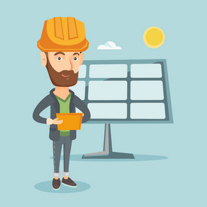 Hipster engineer working on digital tablet at solar power plant. Caucasian worker of solar power plant. Engineer in hard hat checking solar panel setup. Vector flat design illustration. Square layout.