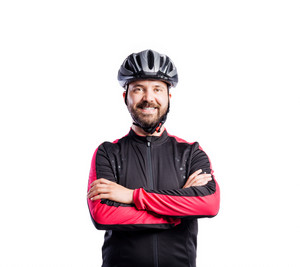 Hipster man in sports sweatshirt wearing helmet, studio shot white background, isolated.