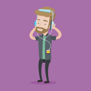 Hipster man listening to music on his smartphone. Young caucasian man in headphones listening to music. Relaxed man with eyes closed enjoying music. Vector flat design illustration. Square layout.