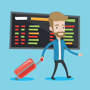Hipster man walking at the airport. Passenger with suitcase walking on the background of schedule board at the airport. Man pulling suitcase in airport. Vector flat design illustration. Square layout.