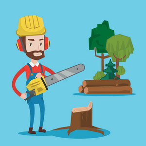 Hipster woodcutter with the beard holding chainsaw. Woodcutter in workwear, hard hat and headphones at the forest near stump. Lumberjack chopping wood. Vector flat design illustration. Square layout.