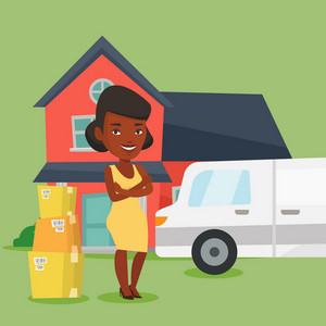 Homeowner standing in front of new home. Woman moving to a new house. African homeowner unloading cardboard boxes. Homeowner unpacking removal truck. Vector flat design illustration. Square layout.