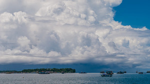 Huge White Clouds above Port in Waisai, Waigeo, Raja Ampat, West Papua, Indonesia