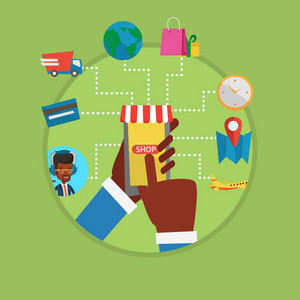 Human hands holding smartphone connected with shopping icons. Man making online order in online store. Concept of online shopping. Vector flat design illustration in the circle isolated on background.