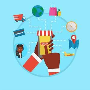 Human hands holding smartphone connected with shopping icons. Online shopping, online store, e-commerce, mobile shopping concept. Vector flat design illustration in the circle isolated on background.