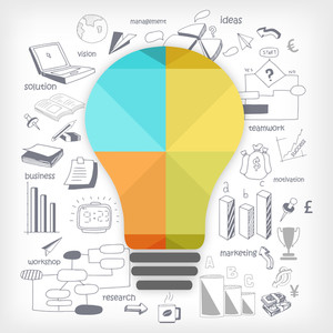 Idea concept with illustration of creative shiny light bulb and other various statistical infographic elements for business or corporate sector.