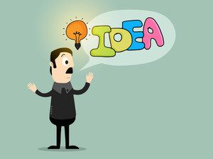 Illustration of a businessman with bulb for Idea concept.