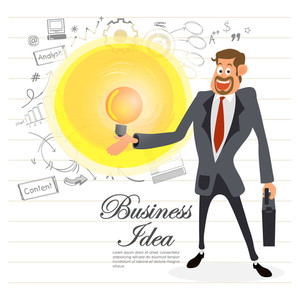 Illustration of a happy Businessman holding briefcase and various infographic elements on notebook paper background.