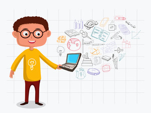 Illustration of a man holding laptop with various colorful business infographic elements created on notebook paper background.
