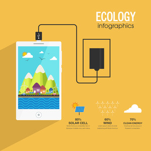 Illustration of a smartphone showing urban city, Creative ecological infographic template layout on yellow background.