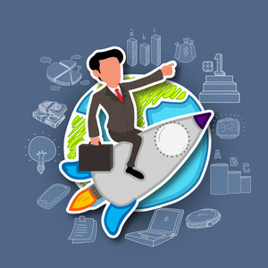 Illustration of a young business man flying on a rocket for start up with various business infographic elements.