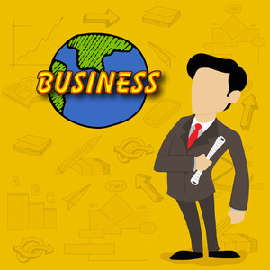 Illustration of a young business man holding a paper with text Business on variouns business infographic elements background.
