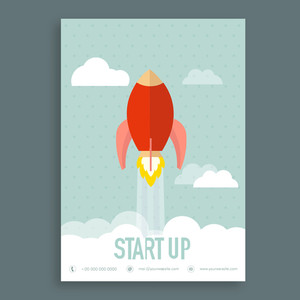 Illustration of flying rocket in sky, Creative Template, Banner or Flyer design for Business Start Up concept.