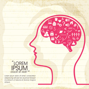Illustration of human brain thinking about various things on notebook paper background.
