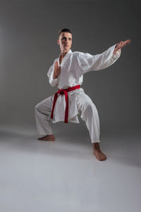 Image of handsome sportsman dressed in kimono practice in karate isolated over grey background. Looking aside.