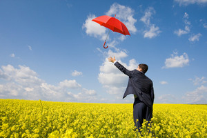 Image of young businessman stretching arm towards red umbrella in flower field