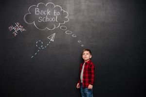 Image of young cute schoolboy standing over background of black chalkboard with school drawings. Look at drawings.
