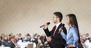 Indoor business conference for managers in hotel.