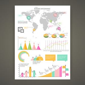 Infographic template layout with various statistical elements for Business reports and presentation.