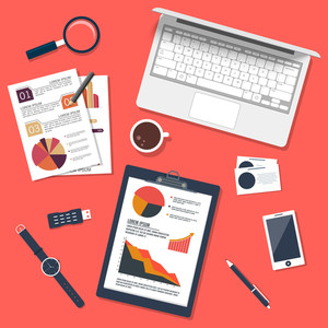 Infographics Business or work space with Laptop, Tablet and Devices
