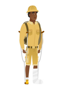 Injured african-american traveler with broken leg on crutches. Traveler with broken leg in bandages. Full length of man with broken leg. Vector flat design illustration isolated on white background.