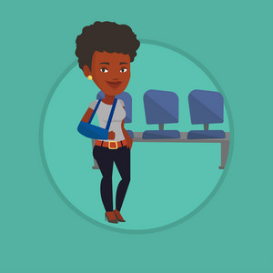 Injured african-american woman wearing arm brace. Woman standing with broken right arm. Cheerful woman with broken arm in a cast. Vector flat design illustration in the circle isolated on background.