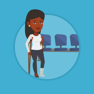 Injured african-american woman with leg in plaster. Young woman with broken leg using crutches. Smiling woman with fractured leg. Vector flat design illustration in the circle isolated on background.