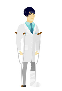 Injured asian doctor with broken leg on crutches. Doctor with broken leg in bandages. Full length of young doctor with broken leg. Vector flat design illustration isolated on white background.