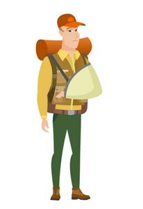 Injured caucasian traveler wearing an arm brace. Traveler with broken arm in sling. Full length of young traveler with broken arm. Vector flat design illustration isolated on white background.