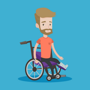 Injured man with leg in plaster. Hipster man with the beard sitting in wheelchair with broken leg. Man with fractured leg. Vector flat design illustration isolated on blue background. Square layout.