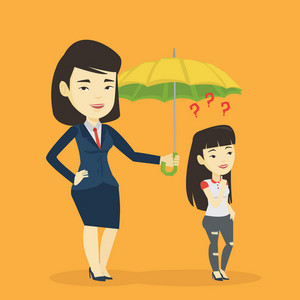 Insurance agent holding umbrella over woman. Asian woman standing under umbrella and question marks. Concept of insurance and protection in business. Vector flat design illustration. Square layout.