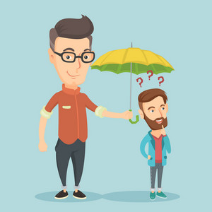 Insurance agent holding umbrella over young hipster man. Caucasian man standing under umbrella and question marks. Concept of insurance in business. Vector flat design illustration. Square layout.
